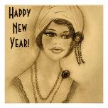 Beaded Flapper Girl New Year Invites