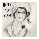 """Beaded Flapper Girl New Year Invites 5.25"""" Square Invitation Card"""