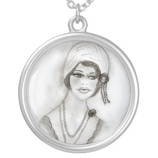 Beaded Flapper Girl Round Pendant Necklace