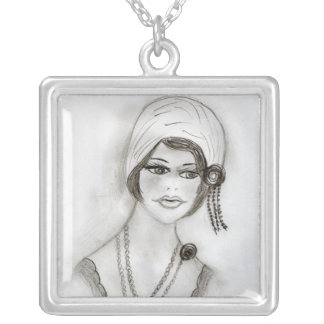 Beaded Flapper Girl Square Pendant Necklace