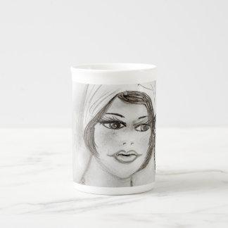 Beaded Flapper Girl Tea Cup