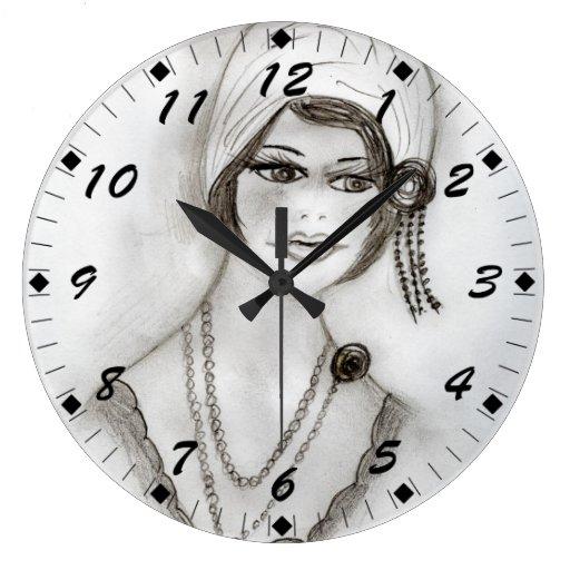 Beaded Flapper Girl Wall Clock