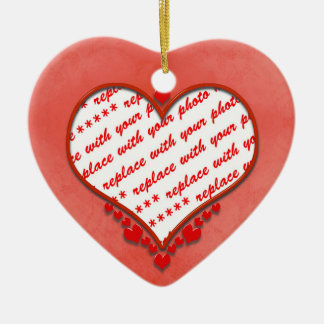 Beaded Heart Photo Frame Ceramic Ornament