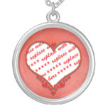 Beaded Heart Photo Frame Round Pendant Necklace