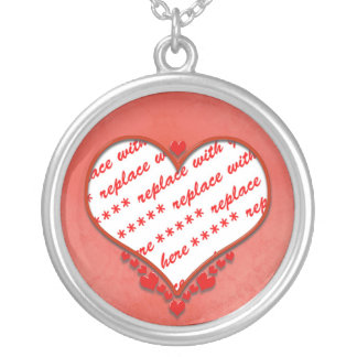 Beaded Heart Photo Frame Silver Plated Necklace