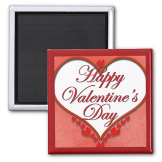 Beaded Heart Valentine 2 Inch Square Magnet