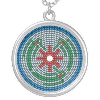 Beaded Hummingbirds Round Pendant Necklace