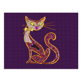 Beaded-Look Jewel Art Cat Postcard