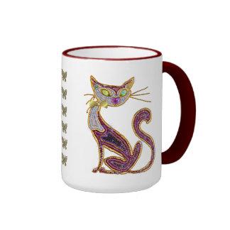 Beaded-Look Jewel Art Cat Ringer Coffee Mug