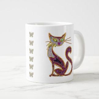 Beaded-Look Jewel Art Cat 20 Oz Large Ceramic Coffee Mug