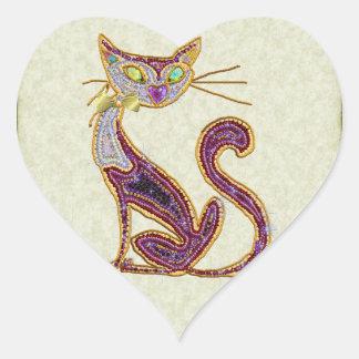 Beaded-Look Jewel Art Cat Sticker