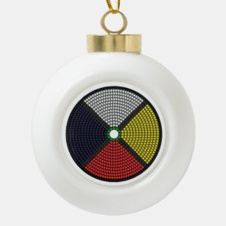 Beaded Medicine Wheel Ceramic Ball Christmas Ornament