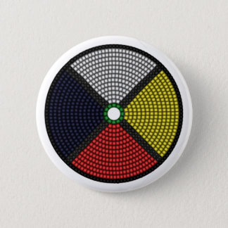 Beaded Medicine Wheel Pinback Button