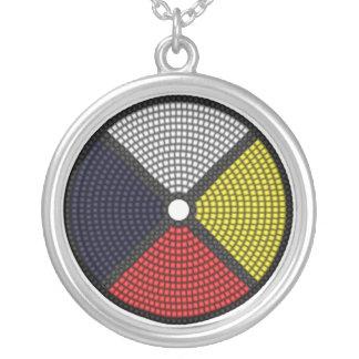Beaded Medicine Wheel Round Pendant Necklace