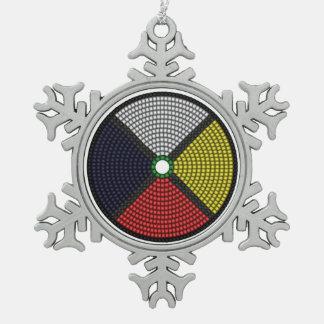 Beaded Medicine Wheel Snowflake Pewter Christmas Ornament