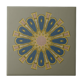Beaded Patchwork Mandala Ceramic Tile