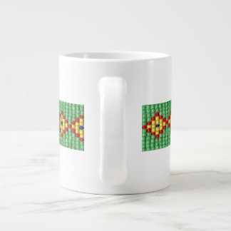 Beaded Pattern of Green Yellow Red Blue Seed Beads Large Coffee Mug