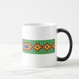 Beaded Pattern of Green Yellow Red Blue Seed Beads Magic Mug