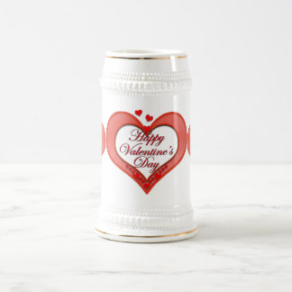 Beaded Red Heart Valentine Beer Stein
