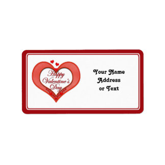 Beaded Red Heart Valentine Personalized Address Label