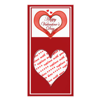 Beaded Red Heart Valentine Photo Card