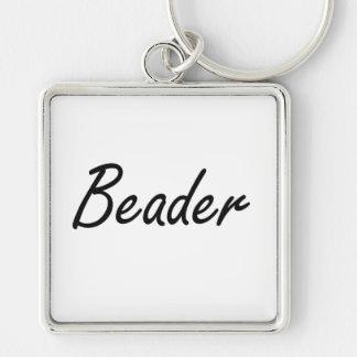 Beader Artistic Job Design Silver-Colored Square Keychain