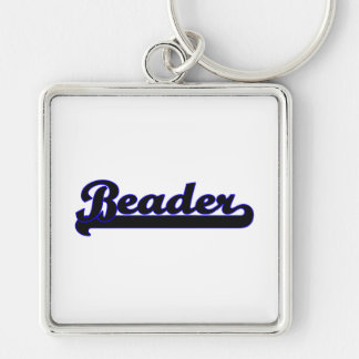 Beader Classic Job Design Silver-Colored Square Keychain