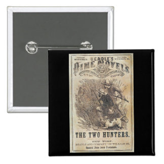 Beadles Dime Novels - The Two Hunters 2 Inch Square Button