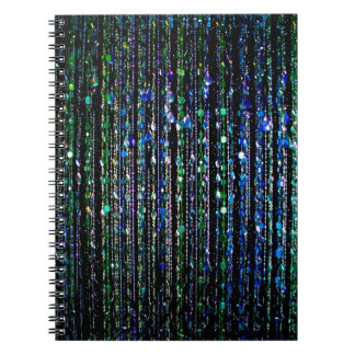 Beads, blue and green spiral note book