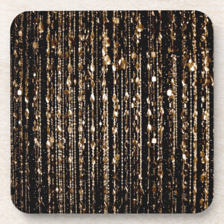Beads, gold beverage coaster