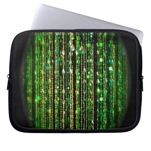Beads, green on black laptop sleeves