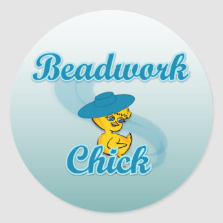 Beadwork Chick #3 Classic Round Sticker