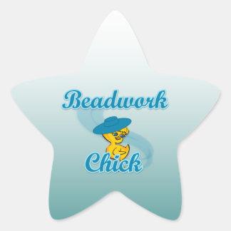 Beadwork Chick #3 Star Sticker