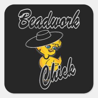 Beadwork Chick #4 Square Sticker