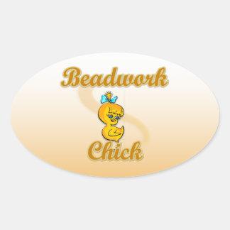 Beadwork Chick Oval Sticker