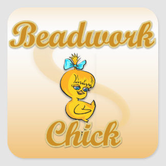 Beadwork Chick Square Sticker