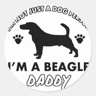 Beage Dog Daddy Classic Round Sticker
