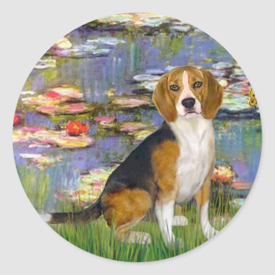 Beagle 7 - Lilies 2 Classic Round Sticker