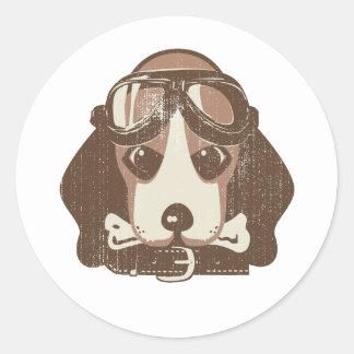 Beagle ace [editable] classic round sticker