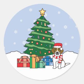 Beagle and Christmas Tree Sticker
