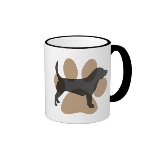 Beagle and Pawprint Coffee Mugs
