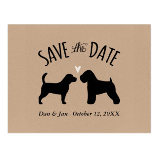 Beagle and Wheaten Wedding Save the Date Postcard