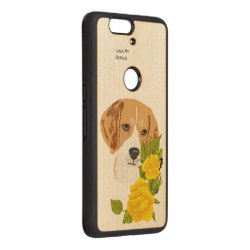 Carved ® Google Nexus 6p Bumper Wood Case with Beagle Phone Cases design