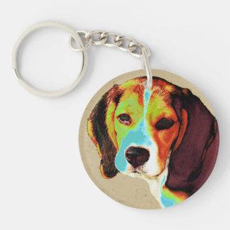 Beagle artístico llavero redondo acrílico a una cara