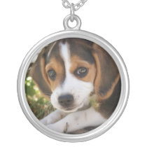 Beagle Baby Dog Silver Plated Necklace