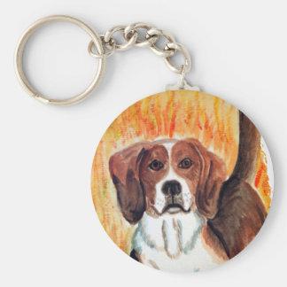 Beagle Basic Round Button Keychain