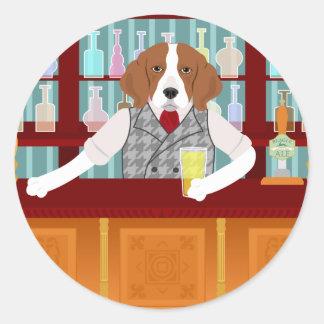 Beagle Beer Pub Classic Round Sticker