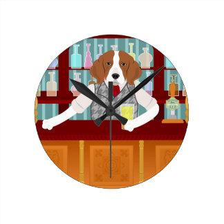 Beagle Beer Pub Round Clock