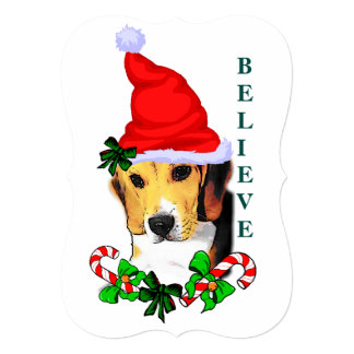 Beagle Believe In Christmas Card