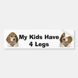 Beagle Bumper Sticker My Kids Have 4 Legs Car Bumper Sticker